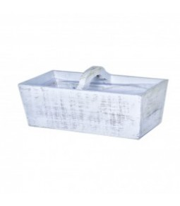 WOODEN BASKET W HANDLE 33*17*18 WHITE WASHED