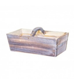 WOODEN BASKET W HANDLE 33*17*18 BROWN WASHED