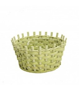 WOODEN CHIPS BASKET DIA25X25CM H12CM B17CM LT GREEN