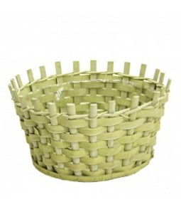 WOODEN CHIPS BASKET DIA31X31CM H16CM B24CM LT GREEN