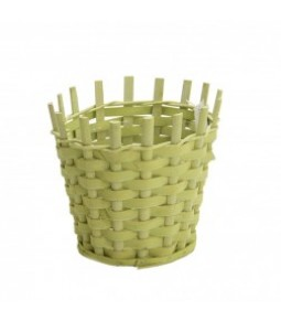 WOODEN CHIPS BASKET DIA19CM H18CM B14CM LT GREEN