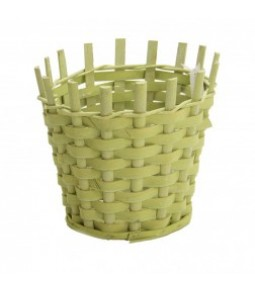 WOODEN CHIPS BASKET DIA23CM H22CM B16CM LT GREEN