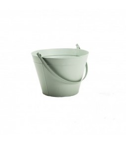 ZINC ROUND BUCKET W HANDLE B21CM H23,5CM LT GREEN