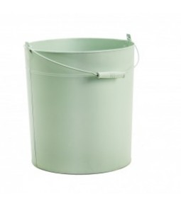 ZINC ROUND BUCKET W WOODEN HANDLE B27,5CM H32CM LT GREEN