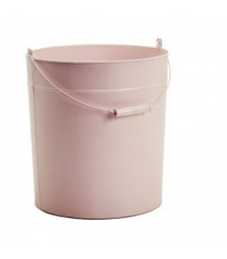 ZINC ROUND BUCKET W WOODEN HANDLE B27,5CM H32CM LT PINK