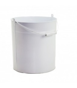 ZINC ROUND BUCKET W WOODEN HANDLE B27,5CM H32CM WHITE