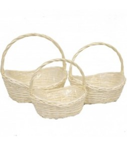 OVAL WILLOW BASKET S 3 BLANCHED