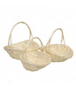 OVAL WILLOW BASKET S 3 BLANCHED **1 8**