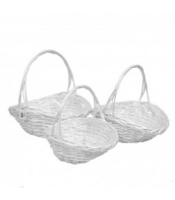 OVAL WILLOW BASKET S 3 WHITE