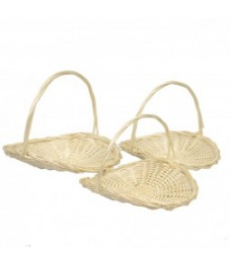 OPEN OVAL WILLOW BASKET S 3 BLANCHED