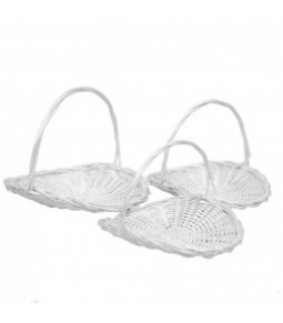 OPEN OVAL WILLOW BASKET S 3 WHITE