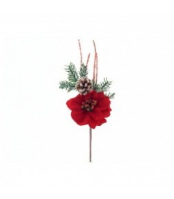 1FL POINSETTIA W PINECONE PICK RED