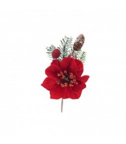 POINSETTIA W PINECONE PICK RED