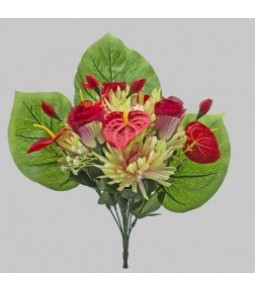 MIXED BOUQUET ROSE BUD DHALIA ANTHURIUM RED