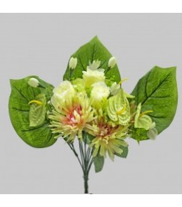 MIXED BOUQUET ROSE BUD DHALIA ANTHURIUM GREEN PINK H.40CM