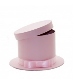 FLOWER BOX HAT SHAPE PINK D22(D15.5)X13CM
