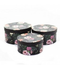 FLOWER BOX S 3 JUNGLE H11,5 X D22CM  H10 X  D20CM H8,5 X  D18 CM BLACK