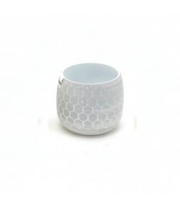D13,5XH14CM FLR POT,RLIEF,PLET WHITE GREY